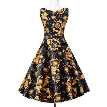 Vintage Swing Sleeveless Printed Dress - COLORMIX COLORMIX