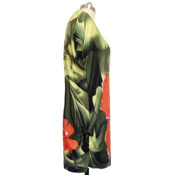 Floral Print Ruched Loose-Fitting T-Shirt - GREEN GREEN
