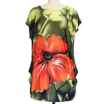Floral Print Ruched Loose-Fitting T-Shirt