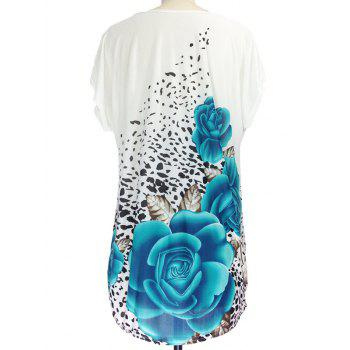 3D Floral Print Ruched Leopard Pattern T-Shirt - BLUE ONE SIZE