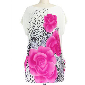 3D Floral Print Ruched Leopard Pattern T-Shirt - RED RED