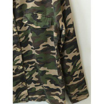 Camo Print Button Design Shirt - ONE SIZE ONE SIZE