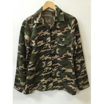 Camo Print Button Design Shirt - CAMOUFLAGE ONE SIZE