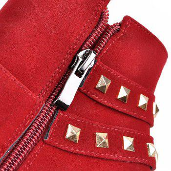 Buckle Rivet Side Zipper Ankle Boots - RED 39
