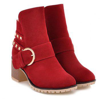 Buckle Rivet Side Zipper Ankle Boots - 39 39