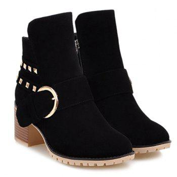 Buckle Rivet Side Zipper Ankle Boots - BLACK BLACK
