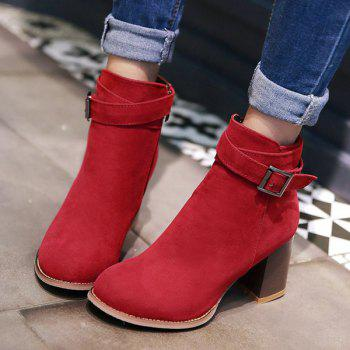 Side Zipper Buckle Suede Ankle Boots - RED RED