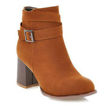 Side Zipper Buckle Suede Ankle Boots - BROWN BROWN