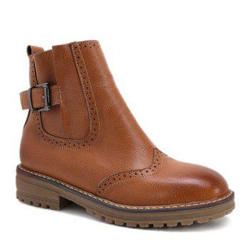 Stitching Buckle Engrave Ankle Boots - BROWN BROWN