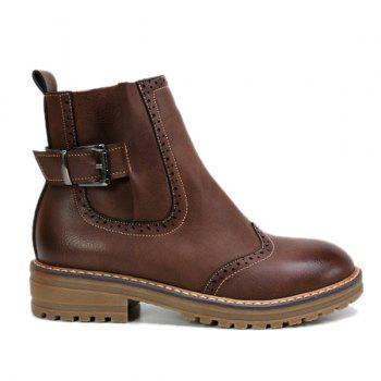 Stitching Buckle Engrave Ankle Boots - DEEP BROWN 38