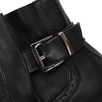Stitching Buckle Engrave Ankle Boots - BLACK BLACK