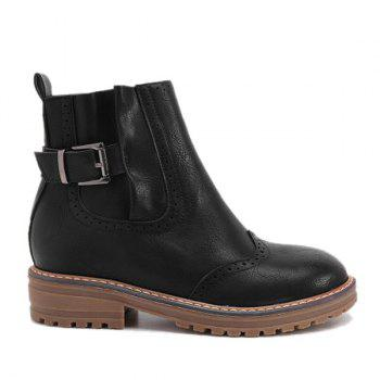 Stitching Buckle Engrave Ankle Boots - BLACK 37