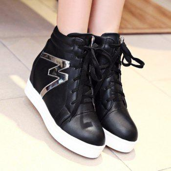 High Top Tie Up Print Ankle Boots - BLACK BLACK