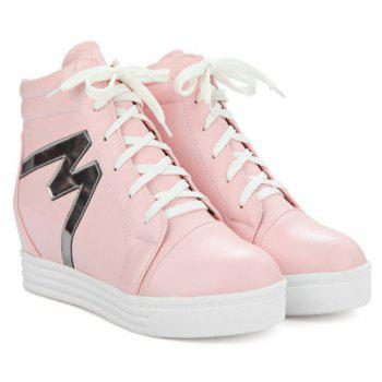 High Top Tie Up Print Ankle Boots - PINK PINK
