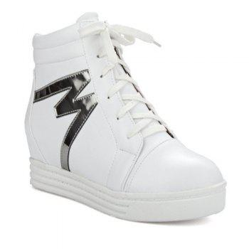 High Top Tie Up Print Ankle Boots