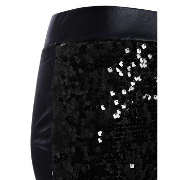 Faux Lether Sequins Glitter Pencil Pants - ONE SIZE ONE SIZE