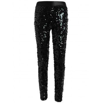 Faux Lether Sequins Glitter Pencil Pants - BLACK ONE SIZE