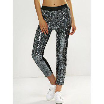 Faux Lether Sequins Glitter Pencil Pants