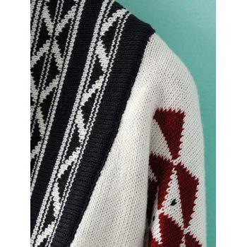Tribal Jacquard Fringed Knitted Cardigan - ONE SIZE ONE SIZE