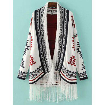 Tribal Jacquard Fringed Knitted Cardigan