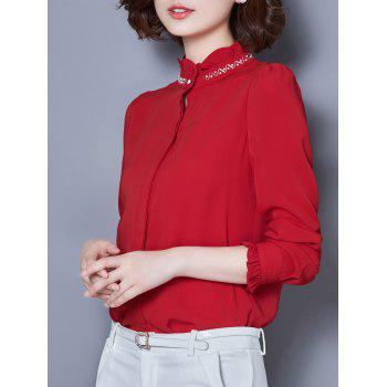Beaded Long Sleeve Chiffon Formal Shirt - M M