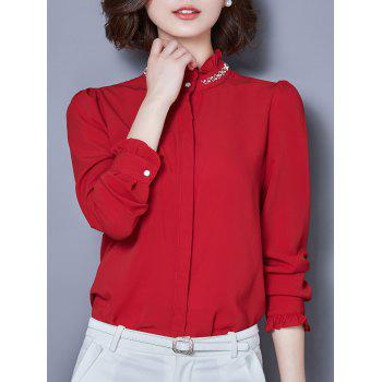 Beaded Long Sleeve Chiffon Formal Shirt - RED M