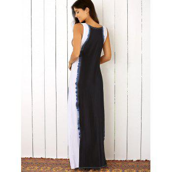 Sleeveless Color Block Floor Length Beach Dress - PURPLISH BLUE PURPLISH BLUE