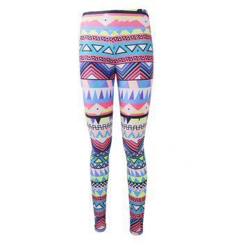 Geometric Colorful Print Christmas Leggings - COLORFUL COLORFUL