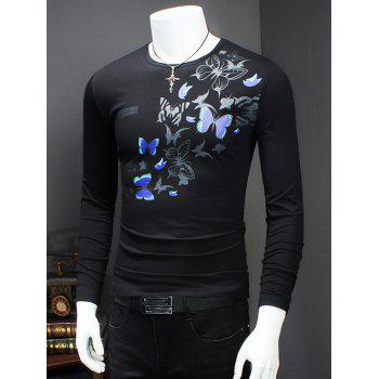 Long Sleeve Round Neck Butterfly Printed T-Shirt - M M