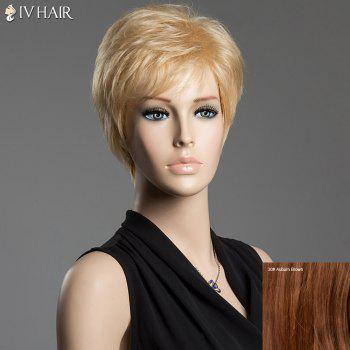 Fluffy Short Natural Straight Siv Hair Side Bang Real Human Hair Wig - AUBURN BROWN AUBURN BROWN