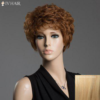 Human Hair Towheaded Curly Siv Hair Capless Short Wig - GOLDEN BROWN WITH BLONDE GOLDEN BROWN/BLONDE