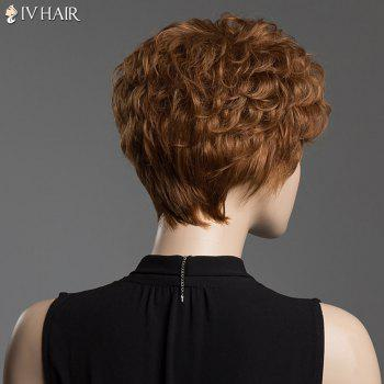 Human Hair Towheaded Curly Siv Hair Capless Short Wig -  GOLDEN BROWN/BLONDE