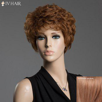 Human Hair Towheaded Curly Siv Hair Capless Short Wig