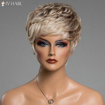 Fluffy Curly Short Human Hair Prevailing Inclined Bang Siv Hair Capless Wig - COLORMIX