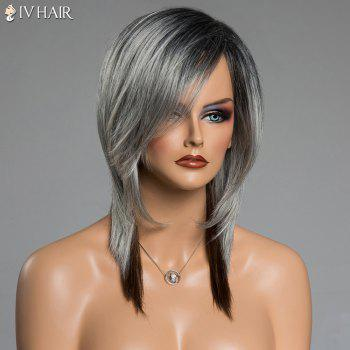 Assorted Color Side Bang Siv Hair Capless Medium Straight Human Hair Wig - COLORMIX