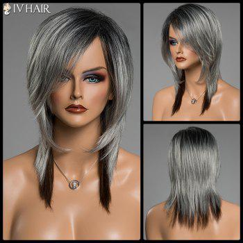 Assorted Color Side Bang Siv Hair Capless Medium Straight Human Hair Wig - COLORMIX COLORMIX