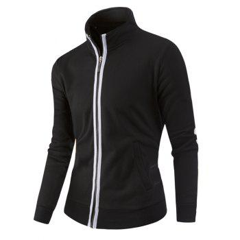 Zipper-Up Stand Collar Color Splicing Jacket - M M
