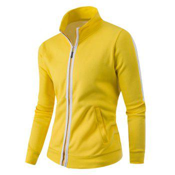 Zipper-Up Stand Collar Color Splicing Jacket - YELLOW YELLOW