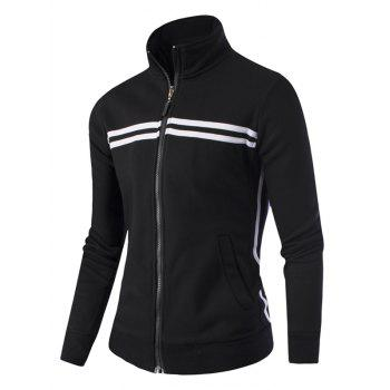Striped Pattern Stand Collar Zipper-Up Jacket - BLACK BLACK