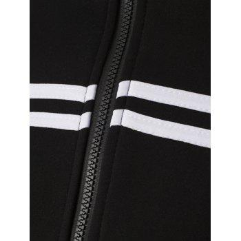 Striped Pattern Stand Collar Zipper-Up Jacket - M M