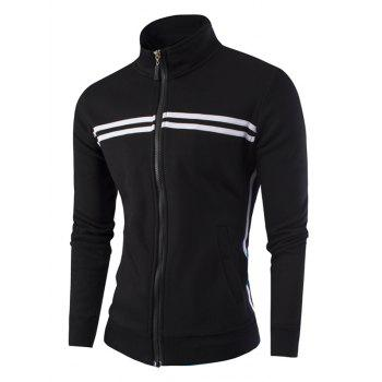 Striped Pattern Stand Collar Zipper-Up Jacket - BLACK M