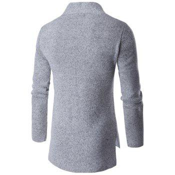 Computer Knitted Collarless Long Sleeves Side Slit Cardigan - GRAY 2XL