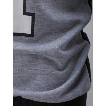 Color Block Letter and Number Print Sweatshirt - BLACK 3XL