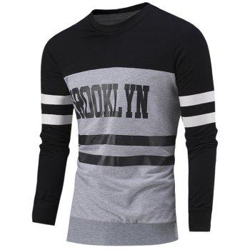 Color Block Letter Print Striped Round Neck Sweatshirt