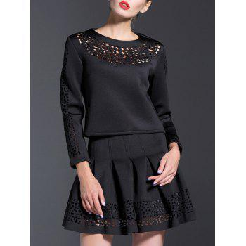 Openwork Blouse and Pleated A-Line Skirt Suit - BLACK XL