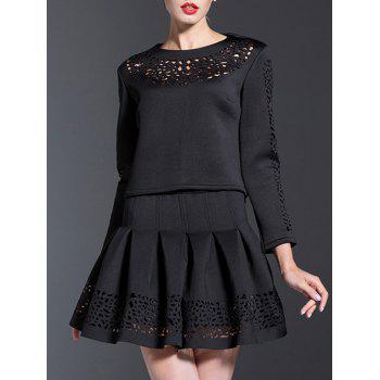 Openwork Blouse and Pleated A-Line Skirt Suit - BLACK BLACK