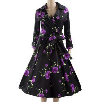 Long Sleeve Wrap Print Swing Dress