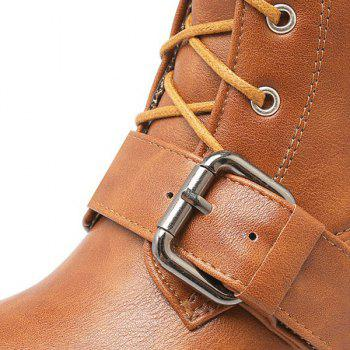 Buckle Lace-Up Chunky Heel Combat Boots - BROWN 39