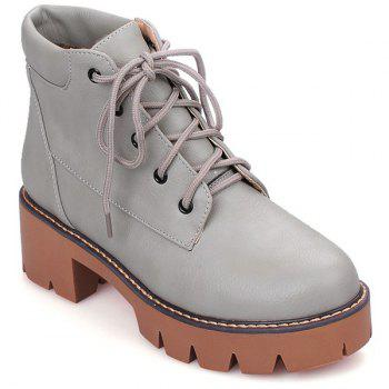 Lace-Up Platform Chunky Heel Combat Boots