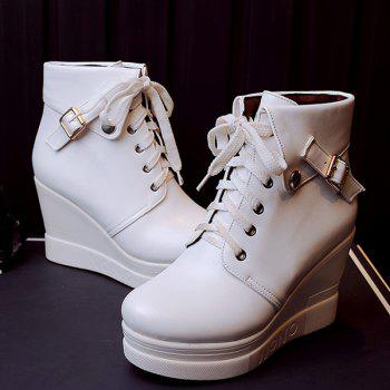 Buckle Wedge Heel Lace-Up Short Boots